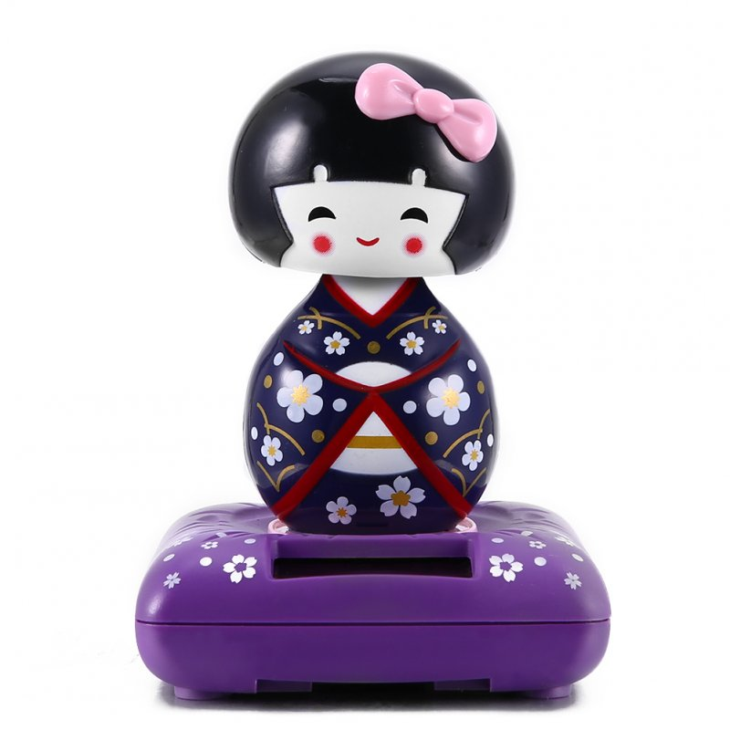 Solar Powered Dancing Cute Animal Monkey Pig Panda Dog Boy Girl Toys for Dashboard Desk Home Office Violet