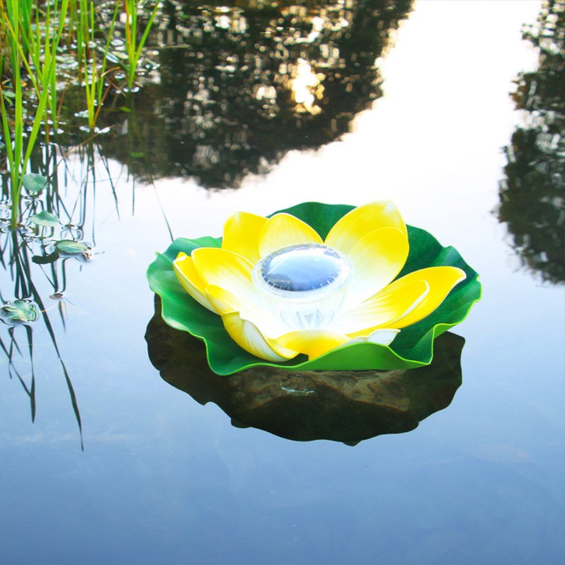 Solar Powered LED Flower Light Lotus Shape Floating Pond Garden Pool Lamp light yellow
