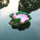 Solar Powered LED Flower Light Lotus Shape Floating Pond Garden Pool Lamp pink