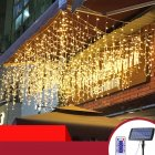 Solar Powered Led Icicle Curtain String Light 4 Modes Adjustable Lamp Decor 3/5 Meters 120LEDs/256LEDs  warm light_3M