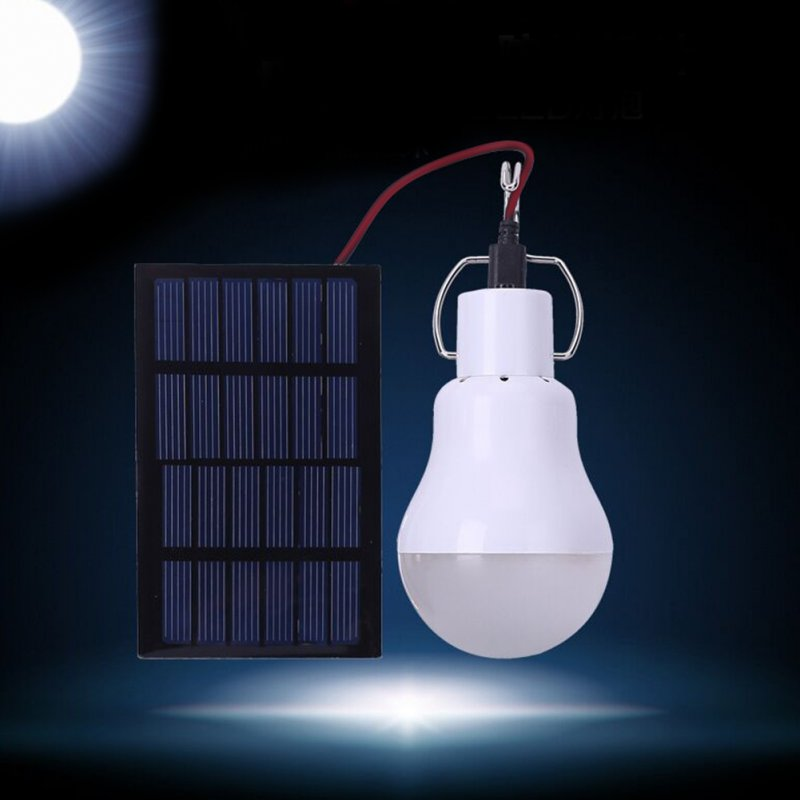 Solar-Powered Outdoor LED Camping Bulb Tent Lamp Home Emergency Light with Red Cable Red line