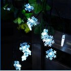 Solar String Lights 20 LED 15 Feet Snowflake Solar Powered String Lights  Warm White