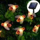 Solar-powered Light Sensor Bee String Lights with Warm Light Garden Flowerpot Home Party Decoration