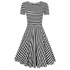 Solemay Women  Stripe Slim Fit O Neck Short Sleeve Casual Knee length A line Dress Black 2XL