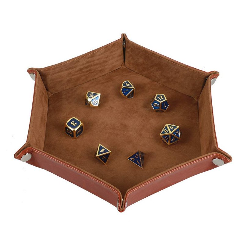Solid Color Hexagonal Dice Tray Folding PU Storage Box for Table Games  Camel_30.8*23*5cm