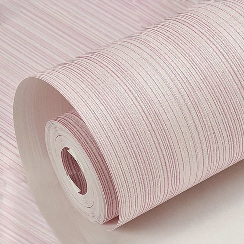 Solid Color Vertical Pinstripe Non-Woven Wallpaper for TV Background Decor 10M light pink