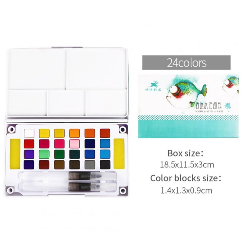 Solid Watercolor Paint Set with Watercolour Brush Bright Color Pigment Set Art Supplies 24-color