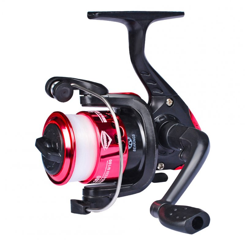 Spinning Fishing Reel CNC Machine Cut Large Arbor Die Casting 5.2:1 Fly Fishing Reel Fishing Tools LL200 red