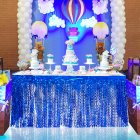 Spiral Tassel Table Skirt for Wedding Birthday Party Decoration blue_275CMX high 75CM