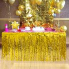 Spiral Tassel Table Skirt for Wedding Birthday Party Decoration Gold_275CMX high 75CM