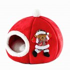 Sponge Pet Nest Tent Autumn Winter Warm Christmas Pumpkin Dog House red_small