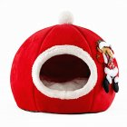 Sponge Pet Nest Tent Autumn Winter Warm Christmas Pumpkin Dog House red large