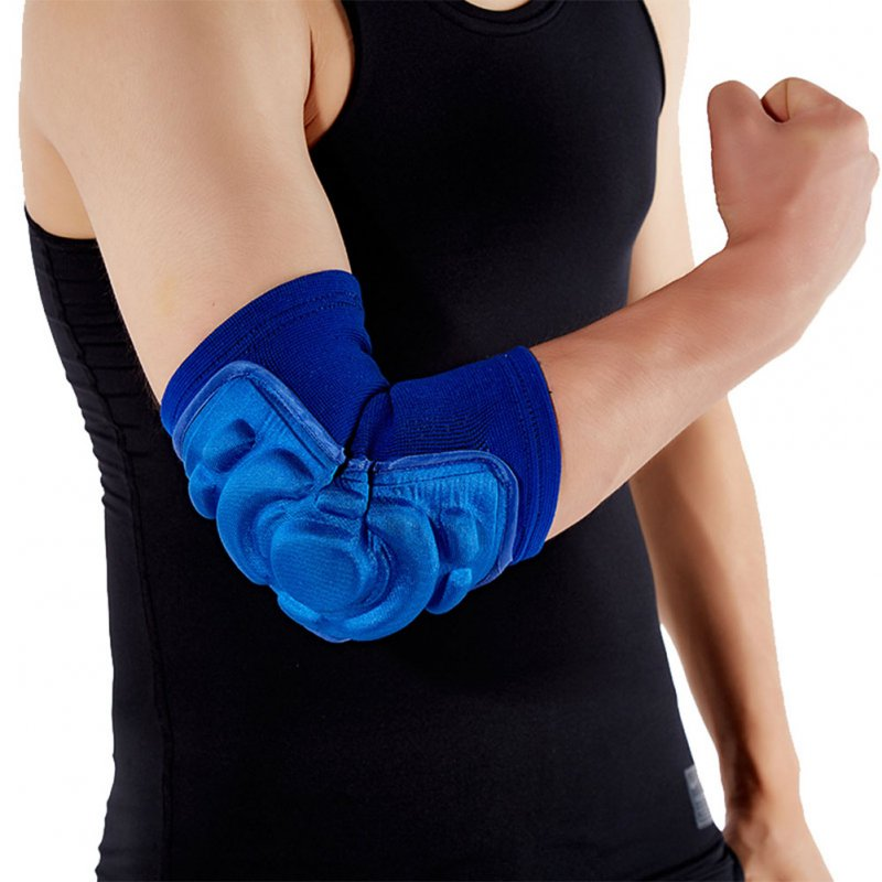 Sport Sponge Elbow Guard Men Summer Thicken Crashproof Basketball Footable Skidding Dancing Warm Joint Protector blue_L