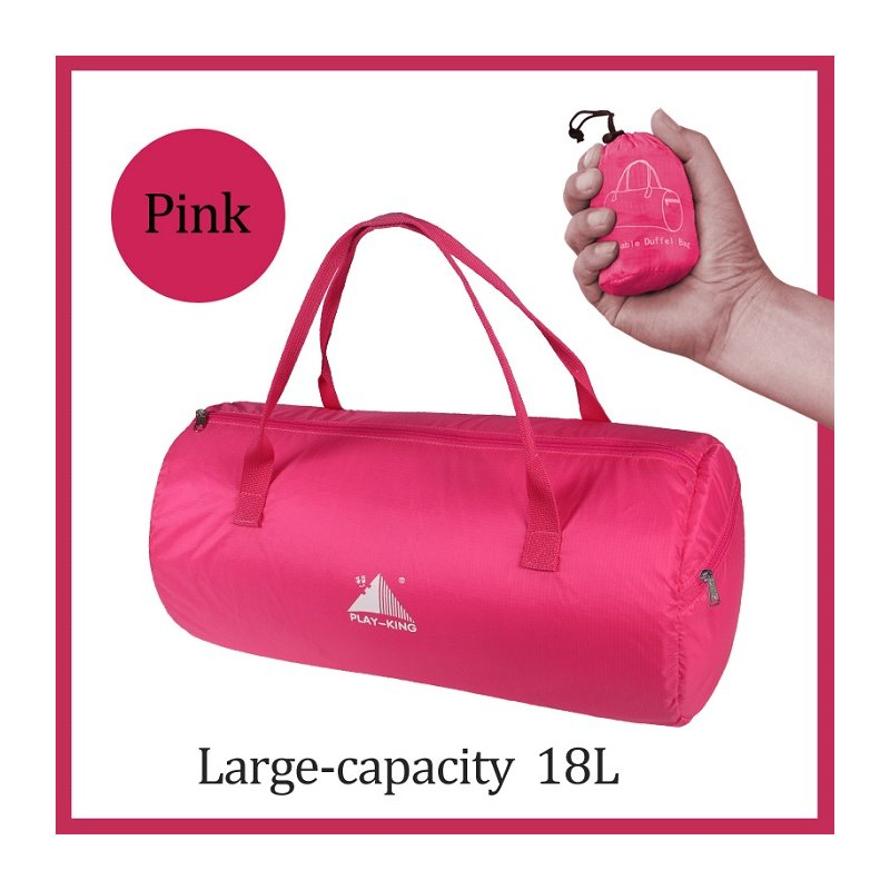Sport Training Gym Bag Wearable foldable travel bag Waterproof bags Outdoor Sporting Tote sport bag rose Red_18 inches