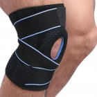 Sports Knee Pads Springs Support SBR Breathable Brace Knee Protector Kneepad Patellar Silicone Pad Black + blue