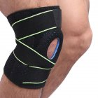 Sports Knee Pads Springs Support SBR Breathable Brace Knee Protector Kneepad Patellar Silicone Pad black + green