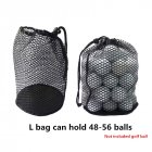 Sports Mesh Net Bag Black Nylon golf bags Golf Tennis 16/32/56 Ball Carrying Drawstring Pouch Storage bag Large size can hold 48-56 balls / price does not include balls