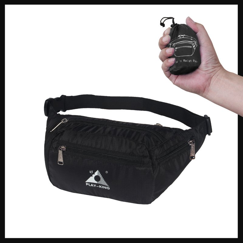 Sports Waist Bag Casual Outdoor Portable Lightweight Folding Multifunctional Running Mobile Phone Waist Bag black_7 inch