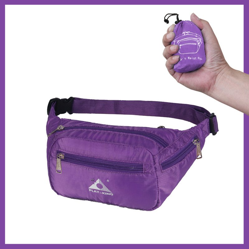 Sports Waist Bag Casual Outdoor Portable Lightweight Folding Multifunctional Running Mobile Phone Waist Bag purple_7 inch