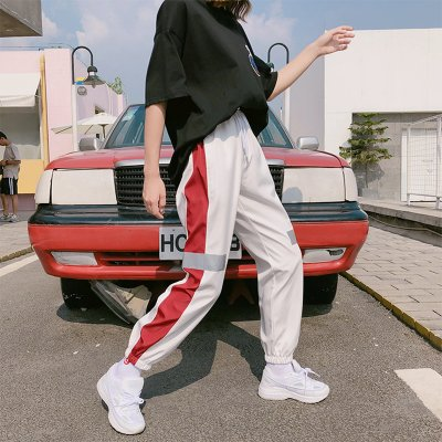 Spring and Summer Women Loose Cool  High Waist Elastic Hip Hop Sweatpants Pants white_L