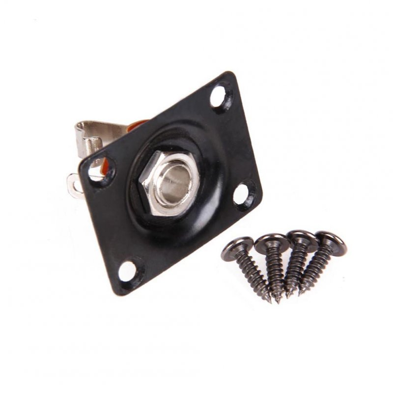 Square Guitar Jack Plate & Socket Assembly for TL Electric Guitar black