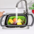 Square Stretchable Draining Basket Colander Kitchen Retractable Strainer Vegetable Storage Rack  green