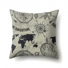 Square World Map Compass Pillowcase Cushion Throw Pillow Cover Printed Living Room Sofa Pillow Case 45 45cm CCA419 5