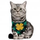 St. Patricks Day Pet Bandanas Printing Triangular Scarf for Dogs Cats Wear Four-leaf clover_Suitable for neck circumference 25-42CM