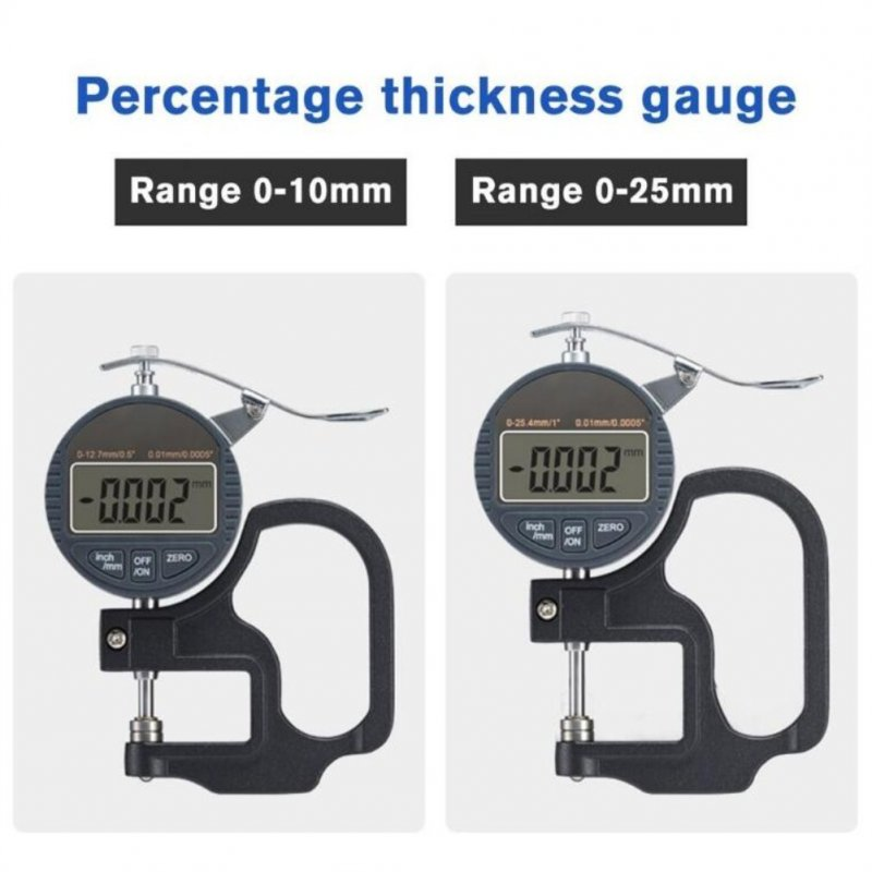 Stainless Steel Digital Display Thickness Gauge Flat Head Thickness Gauge Percentage Micrometer