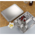 Stainless Steel Lunchbox Divided Lunch Food Container Bento Box Tray with Cover 201 material 5 grid thick section