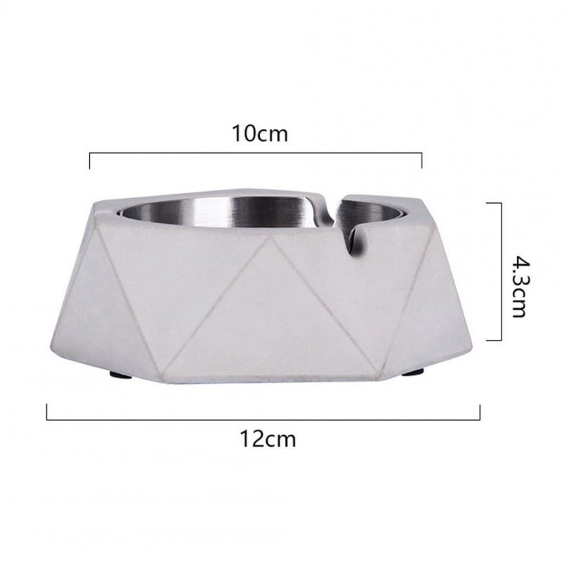 Stainless Steel Nordic Geometric Ashtray for Bar Internet Cafe Office light grey_12 * 10 * 4.3cm