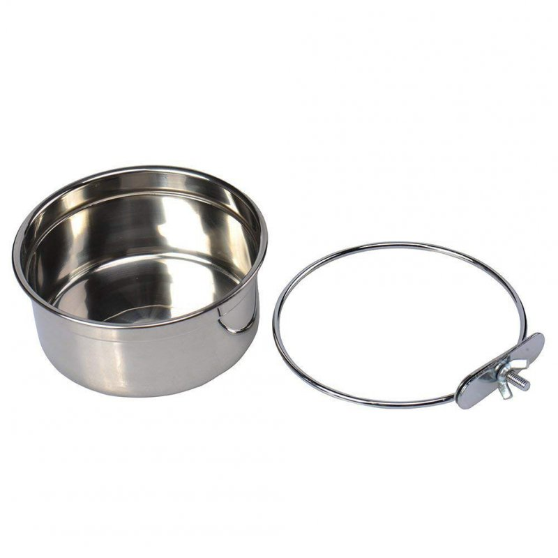 Stainless Steel Pet Parrot Food Water Bowl Fixed Feeding Basin for Pet Birds Small (calibre 10cm)