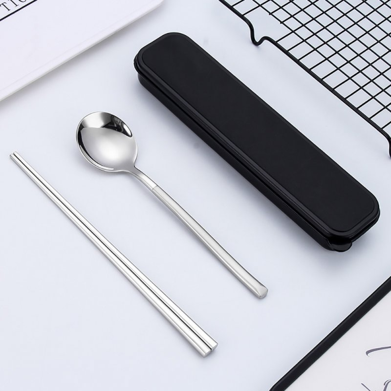 Stainless Steel Portable Cutlery Spoon Chopsticks Travel Camping Dinnerware Sanding spoon + chopsticks + box