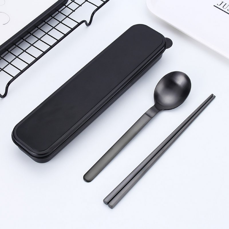 Stainless Steel Portable Cutlery Spoon Chopsticks Fork Travel Camping Dinnerware Black