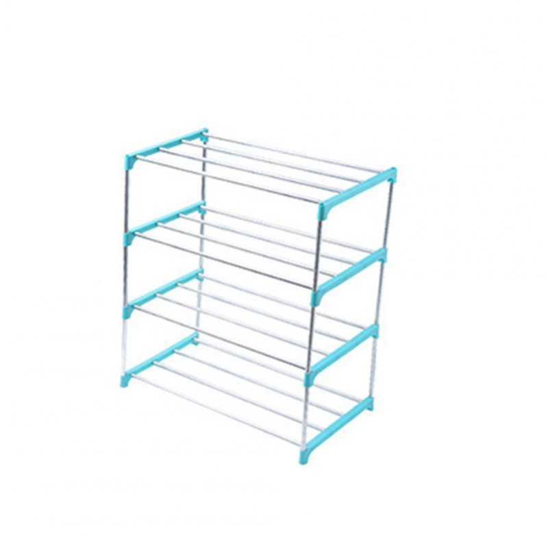 Stainless Steel Shoes Rack Home Bedroom Dormitory Removable Shoe Shelf Nordic blue_4 layers