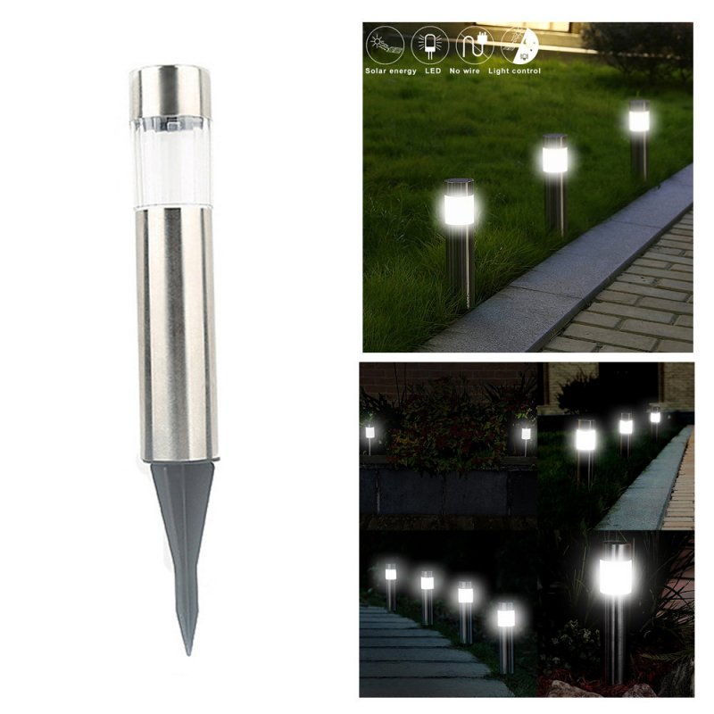 Stainless Steel Solar Powered LED Lawn Light for Outdoor Garden Decor White light