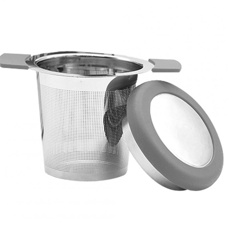Stainless Steel Tea Strainer Tea Leaf Filter with Anti-scald Silicone Handle gray