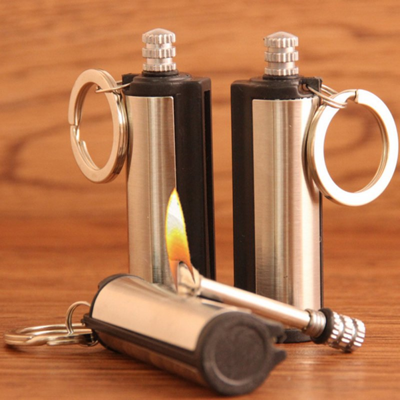 Steel Fire Starter Flint Match Lighter Keychain Camping Emergency Survival Gear stainless steel_3pcs 5.5*1.9