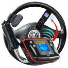 Steering wheel MP3 car kit has convenient entertainment functions along with handsfree Bluetooth operation for today s cell phones