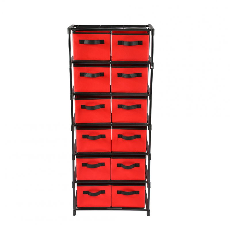 Storage Rack 12 Drawers Style Storage Shelf for Home Toy Sundries Organize red