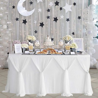 Stripe Style Table Skirt for Round Rectangle Table Baby Showers Birthday Party Wedding Decor white_L14(ft)*H30in