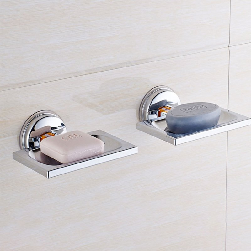 Strong Sucking Disk Soap Rack Drain Design Stylish Soap Dish Storage Tray  Bathroom Decoration Square