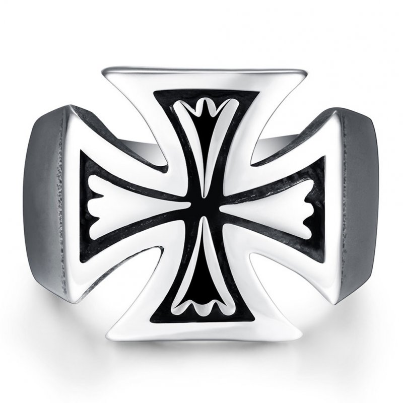 Stylish Creative Stainless Steel Cross Ring Ornament Halloween Christmas Birthday Gift