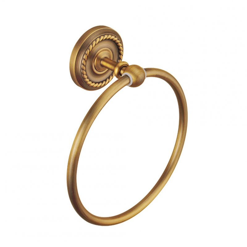 Stylish Firm Towel Ring Copper Towel Rack Pendant for Bathroom Toilet Commodity Shelf Gold