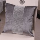 Stylish Graceful Velvet Throw Pillow with Diamond Chain Soft Sofa Cushion Decoration Modern Pillowcase gray_45 * 45cm