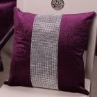 Stylish Graceful Velvet Throw Pillow with Diamond Chain Soft Sofa Cushion Decoration Modern Pillowcase purple_45 * 45cm