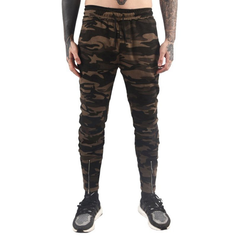 Stylish Men Camouflage Sports Trousers with Zipper Leg Opening Elastic Band Waist Long Pants Gift Green Camo_L