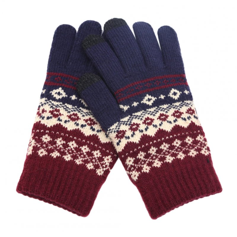 Stylisn Winter Plush Knitted Gloves Warm Thicken Touch Screen Telefingers Mittens for Outdoor cyan_One size