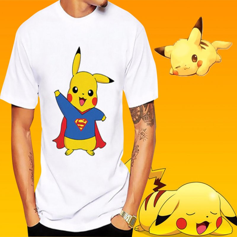 Summer All-match Cartoon Pokemon Go Superman Pikachu Printing Short Sleeve T-shirt for Men Women