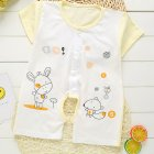 Summer Cartoon Fawn Pattern Printing Bamboo Charcoal Cotton Crotchless Romper for Baby Infant